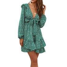 Женское платье с цветочным принтом цельнокроеное глубоким v