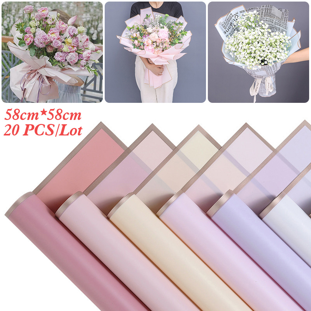 """20pcs Golden Border Rose Flower Wrapping Paper Korean Style Half Transparent Gift Wrap Florist Bouquet All Occasions 22.8""""x22.8"""" 1"""