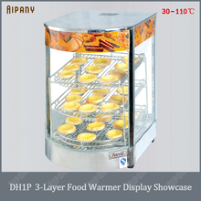 цены DH1P 3 layer electric food warmer display showcase for egg tart pizza bread commercial stainless steel heat preservation cabinet