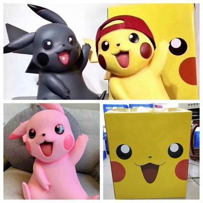 Anime Pokemon Pikachu 1/1 Garage Kit Delivery Magnetic Replacement Ear Ash Hat