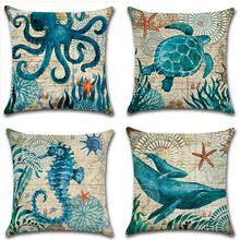 CAMMITEVER Cotton Linen Pillow Cover Seaworld Octopus Sea Turtle Hippocampus Cushion Cover Home Decorative Pillow Case Blue
