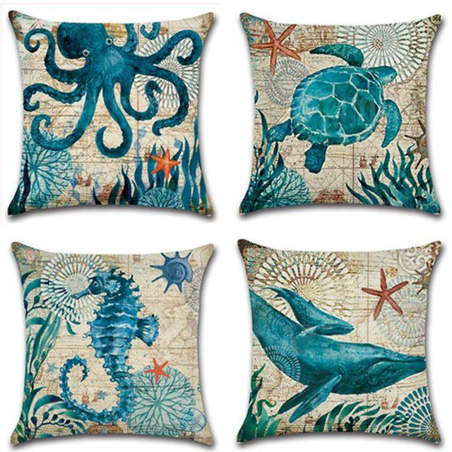 CAMMITEVER Cotton Linen Pillow Cover Seaworld Octopus Sea Turtle Hippocampus Cushion Cover Home Decorative Pillow Case Blue