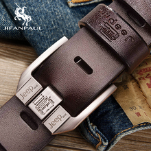 JIFANPAUL Men #8217 s genuine leather luxury brand belt high quality alloy pin buckle men #8217 s business retro youth with jeans new belt cheap Adult Metal Cowskin 3 8cm Casual Solid 5 5cm Belts 4 5cm