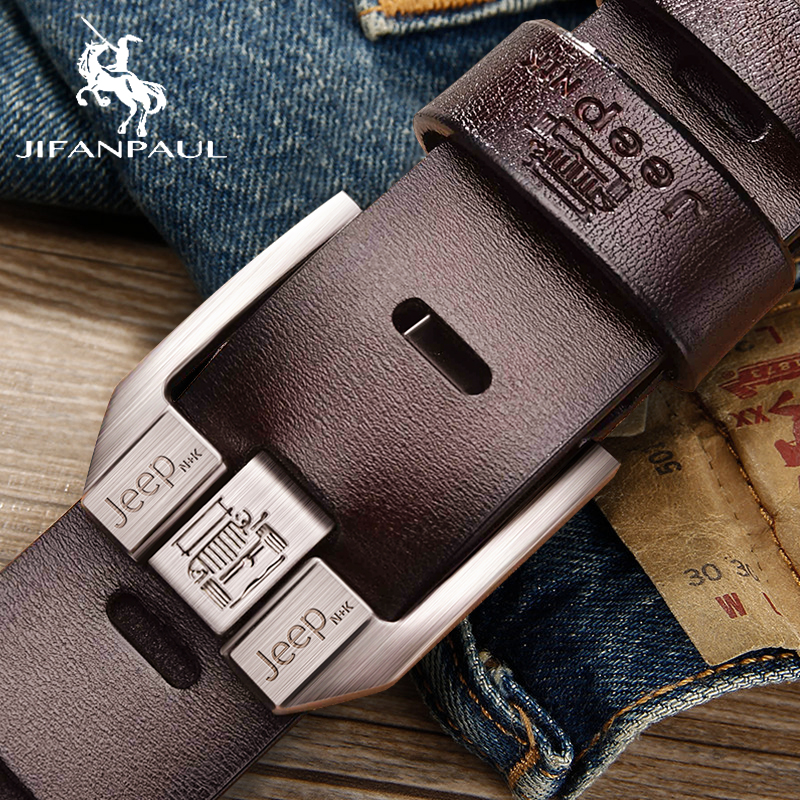 JIFANPAUL Men's Genuine Leather Luxury Brand Belt High Quality Alloy Pin Buckle Men's Business Retro Youth With Jeans New Belt