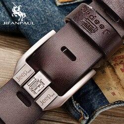 JIFANPAUL-Cinturón de piel auténtica para hombre, hebilla de alfiler de aleación de alta calidad, para negocios, retro, juvenil, con pantalones vaqueros