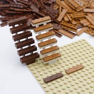 Image 4 - עיר אביזרי אבני בניין 1x4 שטוח אריח רצפת לוח קיר עץ לבני בית החווה בורא חלקי בתפזורת צבאי בניין צעצועים