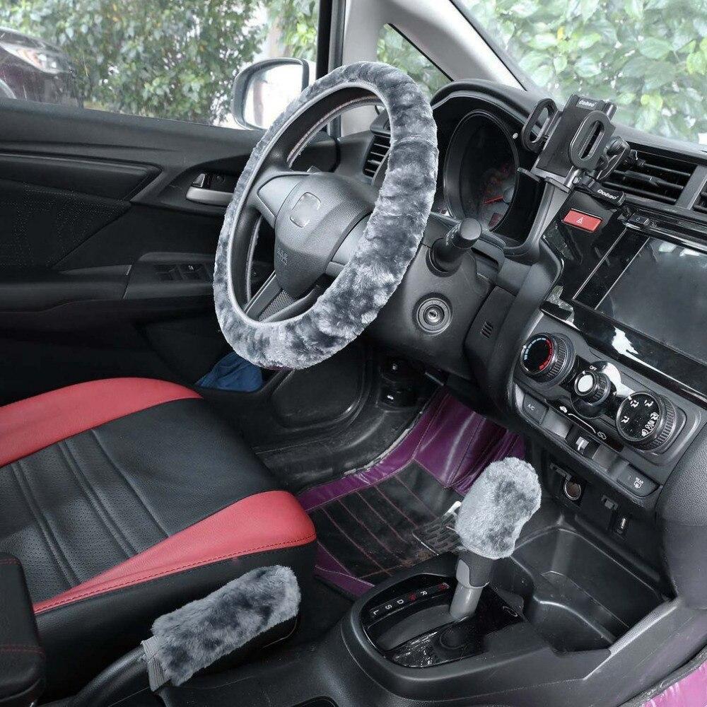 Cimiva 2017 New 3 pcs/set Charm Warm Long Wool Plush car Steering Wheel Cover woolen Car Handbrake Accessory HOT
