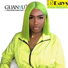 Lime Green Human Hair Bob Wigs Remy Pre Plucked Short 13X4 Neon Green Lace Front Wig With Baby Hair For Black Women Guanyuhair(China)