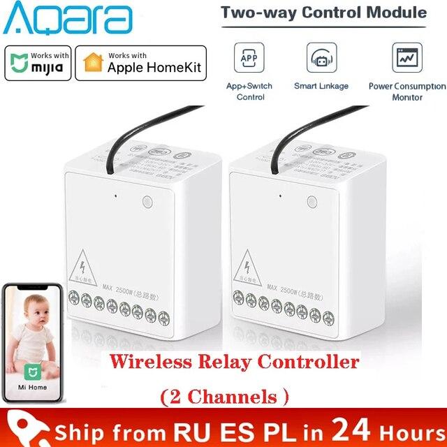 Aqara Relay Two way Control Module Zigbee Wireless Relay Controller 2 Channels Smart Light Control Switch Work For Mijia Homekit