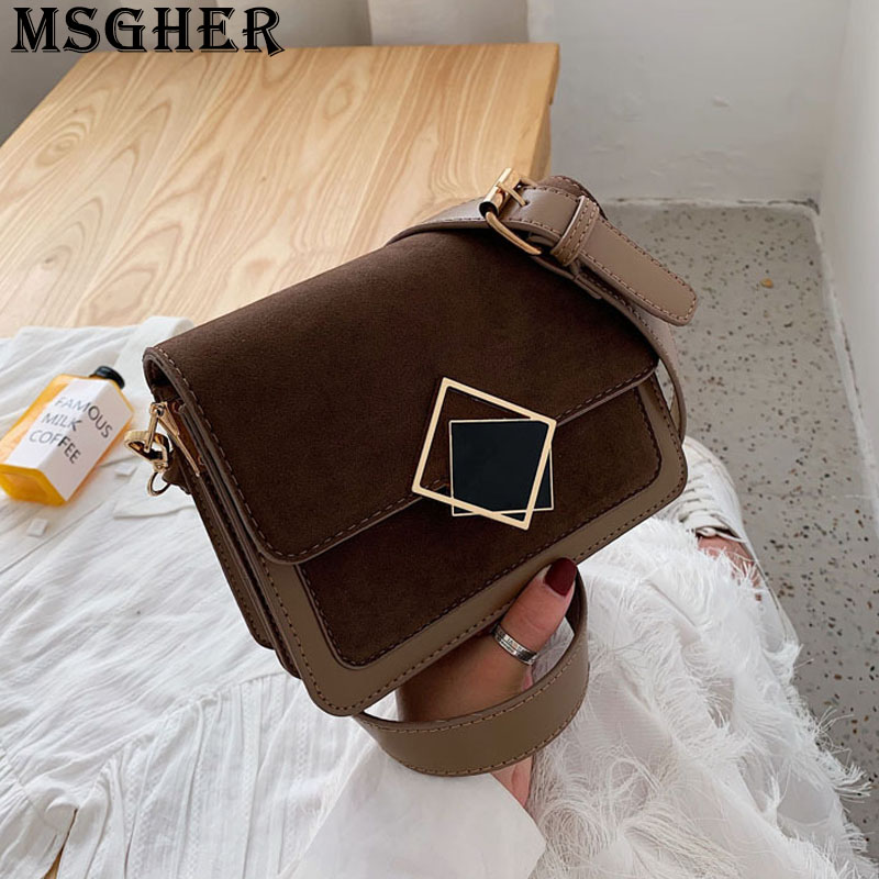 MSGHER Frosted Flap Women Shoulder Bag Delicate Hasp Concise Style Temperament Autumn Joker Practical New Girl Bag WB3001