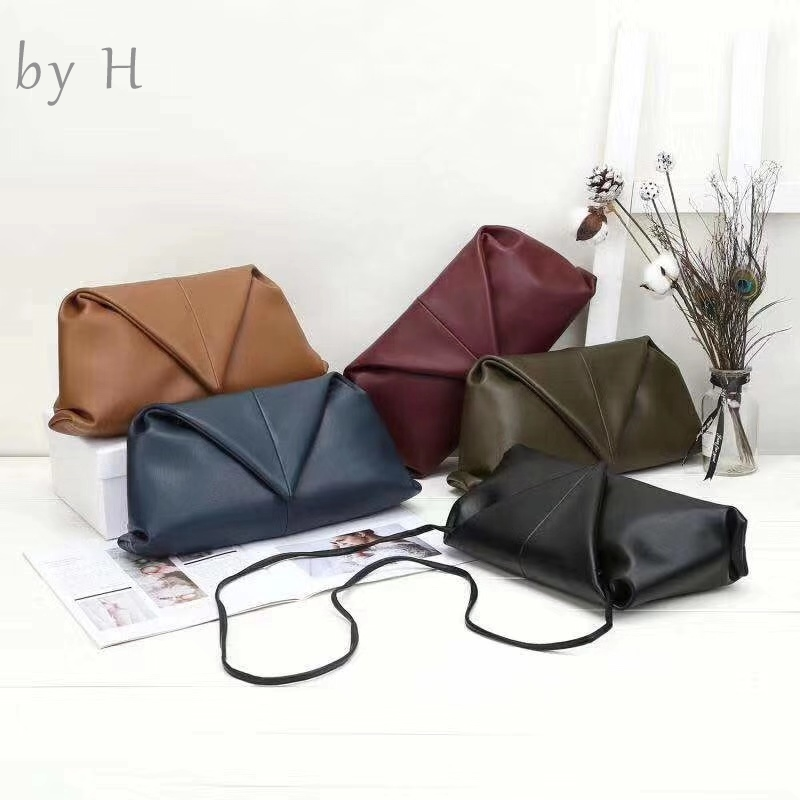 by H October Newest Dumpling Handbag Causal Fold Purse Genuine Leather Big Size Crossbody Messenger Bag Women's Day Purse