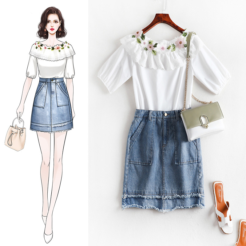 Lan Mu Square Large Size Dress 2019 Summer Wear Fat Mm Western Style Denim Skirt Set Waist Thick Cover Belly By Age 7858