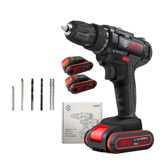 36VF 1600rpm 50Nm 25 speed Torque Double Speed Cordless Electric Drill Screwdriver With LED lighting And drill bit