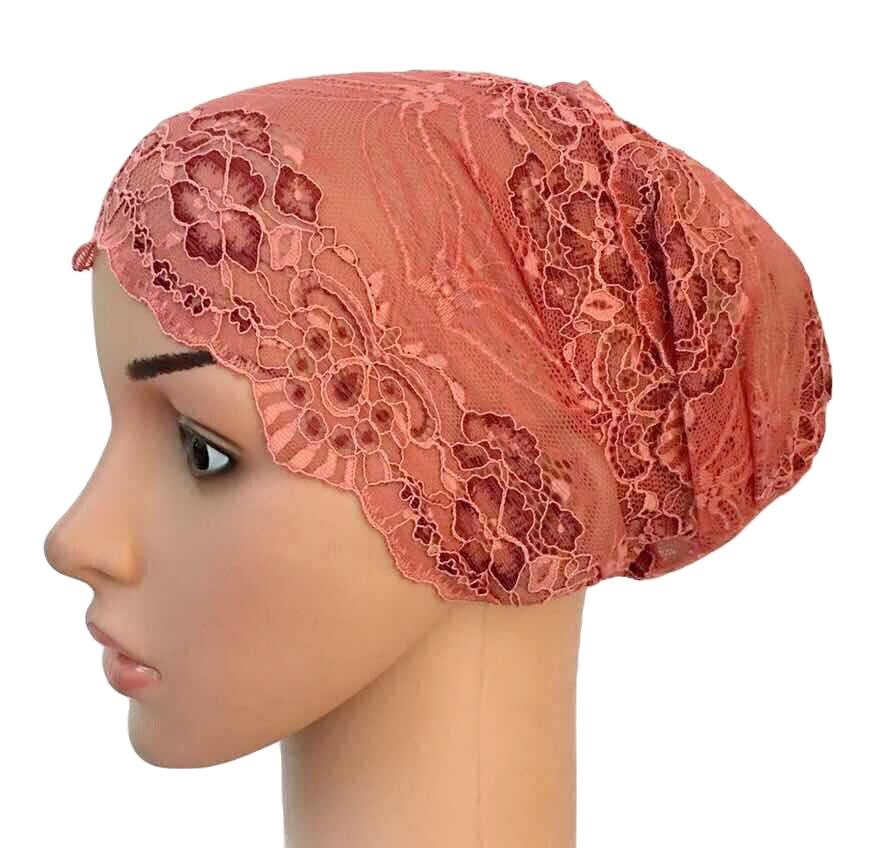 Image 4 - Women Muslim Elastic Lace Bandage Hat Muslim Inner Caps Islamic  Indian Turban Cancer Headwear Underscarf Hats Middle EastWomens  Skullies