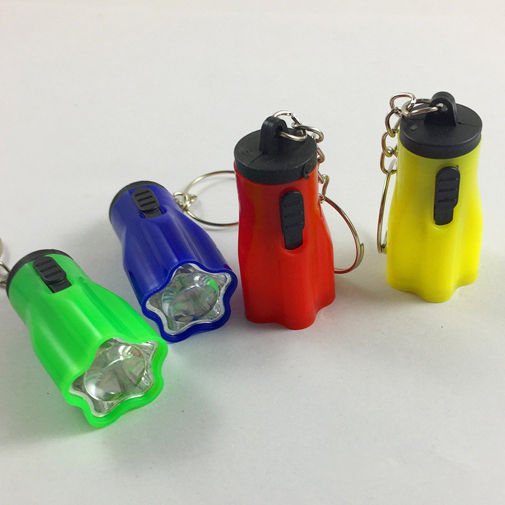 1pcs Mini LED Keychain Flashlight Key Chain Hand Torch Keyring Portable Light Lamp Emergency Plastic Button Cell Powered Plum