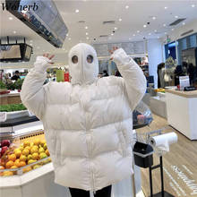 Woherb 原宿冬コート女性ルースパーカーフード付きの厚手パッド入りコートプラスサイズキルトジャケット白黒おかしいエイリアンコート
