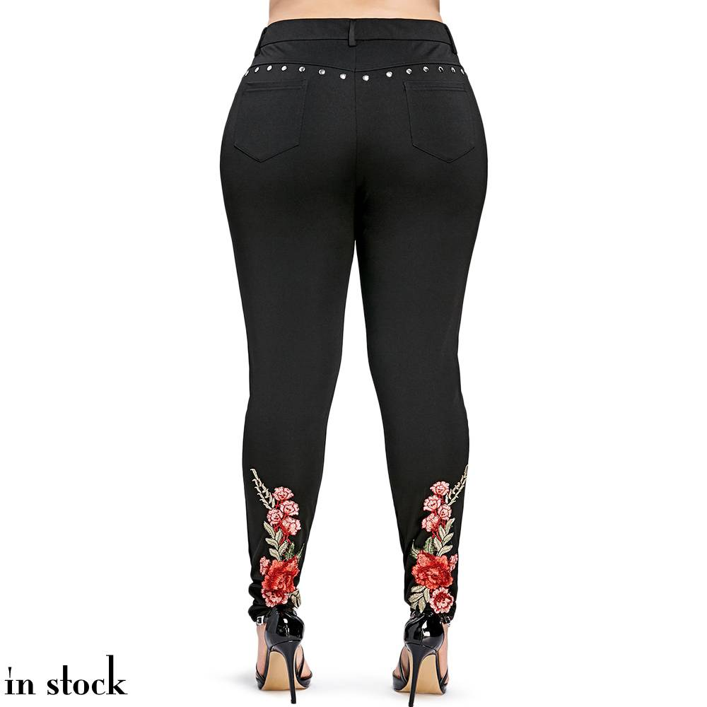 ROSEGAL Plus Size 5XL Floral Embroidery Rivet Pencil Pant Women Summer Clothing Sexy Embroidered Skinny Trousers Large Pants