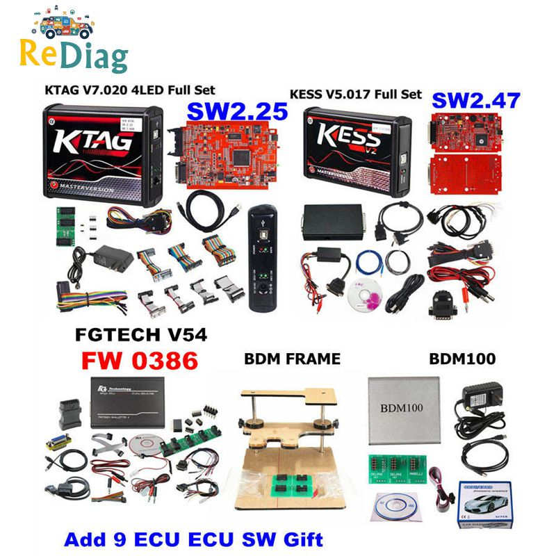 Completo ECU Tuning Chip Ferramenta Kess Online Vermelho UE V2 V5.017 Ilimitado KTAGV7.020 FGTECH Galletto 4 V54 V0386/V0475 BDM100 Caminhão Do Carro