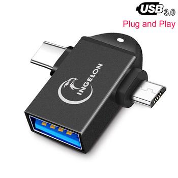 Adapter USB C OTG 2 w 1 Micro USB typ C na USB 3 0 Adapter type-c konwerter dla Huawei Laptop Android telefony komórkowe Accessoire tanie i dobre opinie INGELON Zewnętrzny CN (pochodzenie) All in 1 multi w 1 Karty TF T01 Adapter