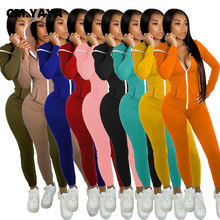 CM.YAYA Activewear Zipper Up Hooded Jumpsuit for Women Sporty Fashion One Piece Overall Bodycon Rompers Fall winter Outfits