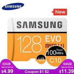 سامسونج مايكرو SD بطاقة الذاكرة 32G 64G 128G 256 مايكرو بطاقات SDHC SDXC ماكس 95 مللي EVO 32GB 64GB C10 TF ترانس فلاش بطاقة تخزين صغيرة