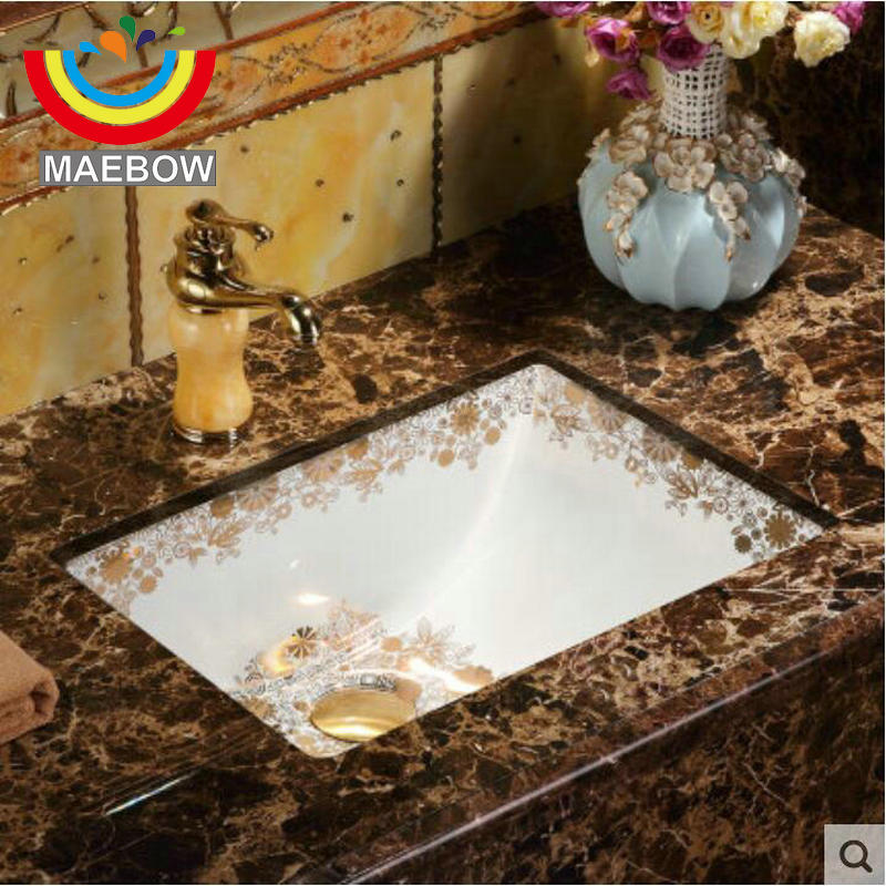 Gloden Flower Rectangular Undercounter Sink Oval Ceramic Bathroom Basin Bathroom Sink Bathroom Sinks Aliexpress