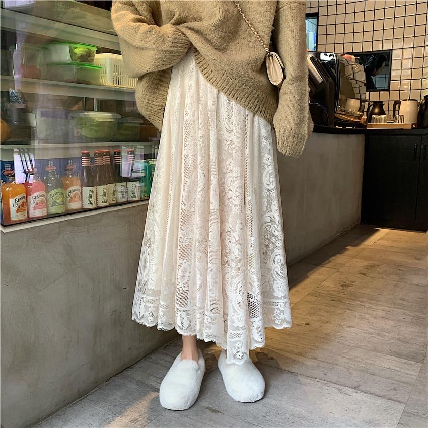 Alien Kitty Elastische Hohe Taille Spitze Röcke Frauen Frühling Herbst 2020 Neue Koreanische Elegante Casual A-linie Schwarz Lang Rock Weibliche