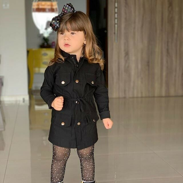 2-7T Fashion Kids Baby Girls Clothes Solid Autumn Lapel Horn Long sleeve Cotton Windbreakers Casual   Trench   Coats
