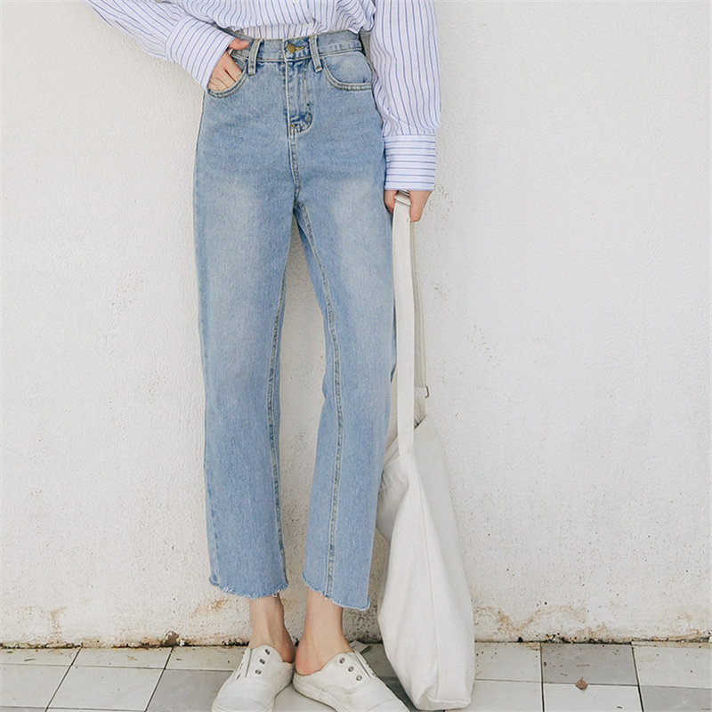 Alien Kitty Light Plus Blue Denim Chic 2020 Cowboy Summer New Fashion High Waist Jeans Femme Straight Loose Casual Wide Pants