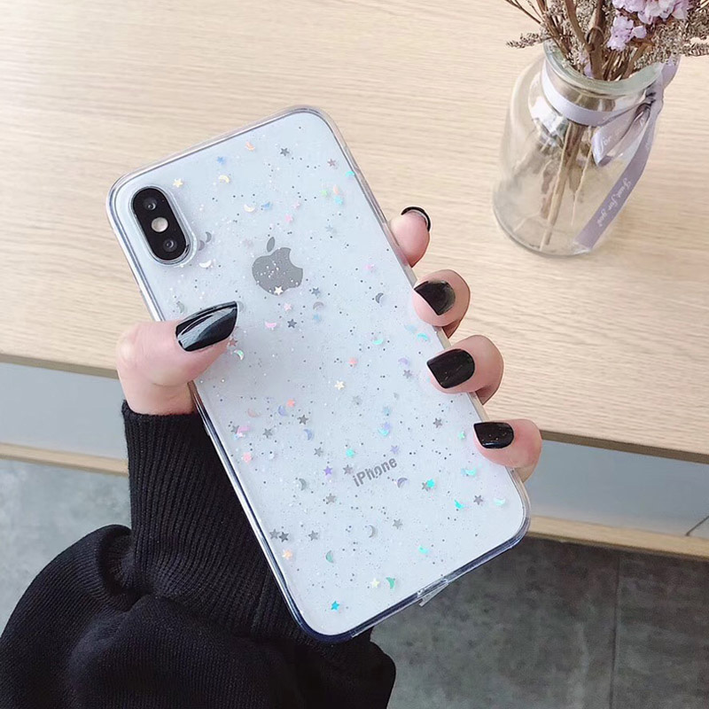 H53be9960f4204f36bdd4c24c77becf2at - GIMFUN Star Bling Glitter Phone Case for Iphone 11 Pro Max Clear Back Love Heart tpu Case Cover for Iphone Xr X 7 6 8 Plus 5s SE