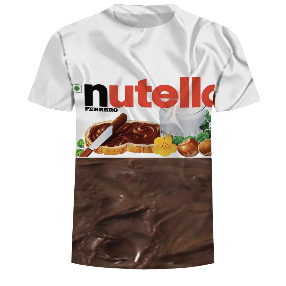 Summer Fashion Women/men 3d T Shirt Nutella Spoof Fun Lifelike Food Chocolate Sauce Harajuku Food T-shirt  Mens Free Shipping