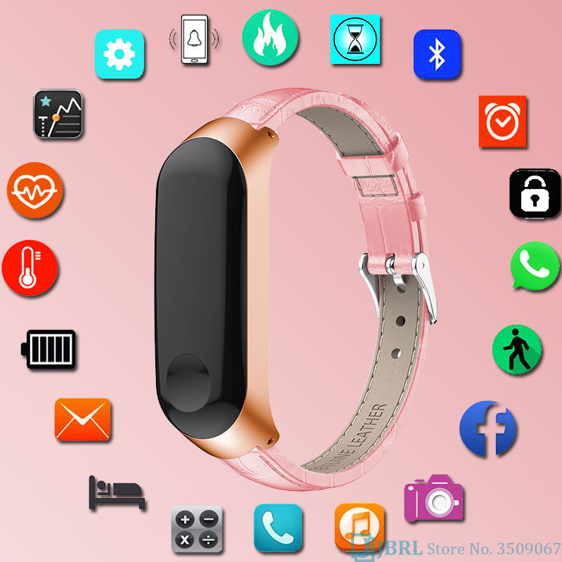 Fitness Tracker Pedometer Call Message Smartwatch For Android IOS Sport Watch Women Leather Smart Watch Men Relogio Inteligente