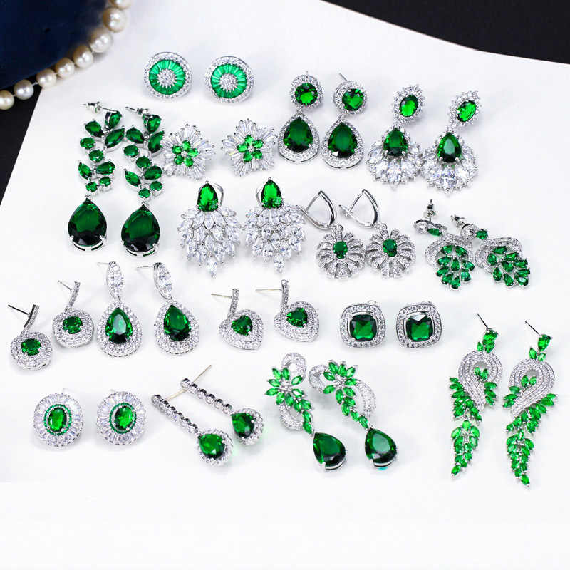 Pera Vintage Long Water Drop Leaf Flower Statement Hanging Green Earrings for Women Wedding Fashion CZ Crystal Jewelry 2019 E423