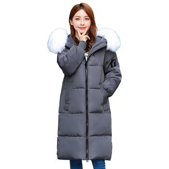 Down cotton jacket Women Winter Parkas Plus size XL-7XL Fur collar Hooded Thicken Long Cotton-padded jacket 120kg can wear 2915