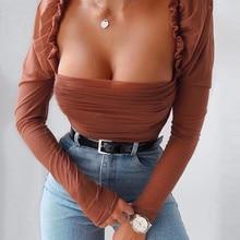 hirigin new Womens Shirt female Patchwork solid Tops ladies fashion Mesh casual