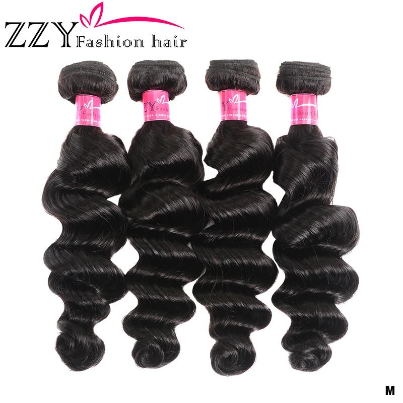 ZZY Fashion Hair Loose Deep Wave Bundles Brazilian Hair Weave Bundles Human Hair Extensions 4 Bundles Non-remy Hair Bundles