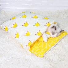 Sac de couchage pour chiens et chats, lit pour animaux domestiques, canapé, tapis d'hiver chaud, niche, coussin, tailles S M L