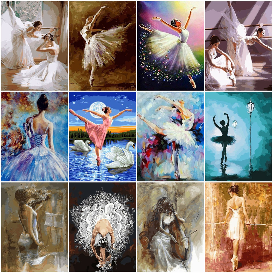 AZQSD Painting By Numbers Paint Ballet Dancer DIY Canvas Picture Hand Painted Oil Painting Music Girl Home Decoration(China)