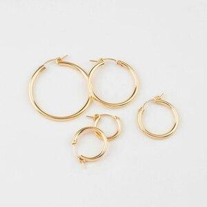 Image 5 - UM par 14 K gold filled brinco ganchos 15mm/19mm/22mm/29mm/ 35 dois milímetros de ouro cheias Brincos Clipe para brinco DIY fazendo descobertas jóias