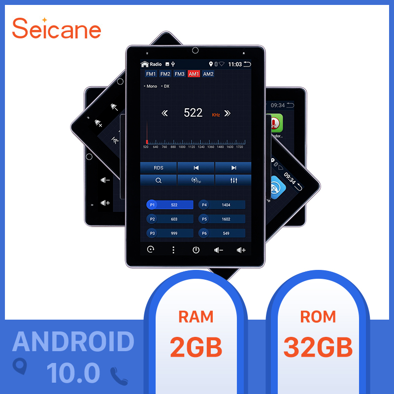 Seicane 10.1 Inch Android 10.0 RAM 2GB ROM 32GB Universal Car Radio GPS Car Multimedia HD 180°Rotatable Screen Support Carplay