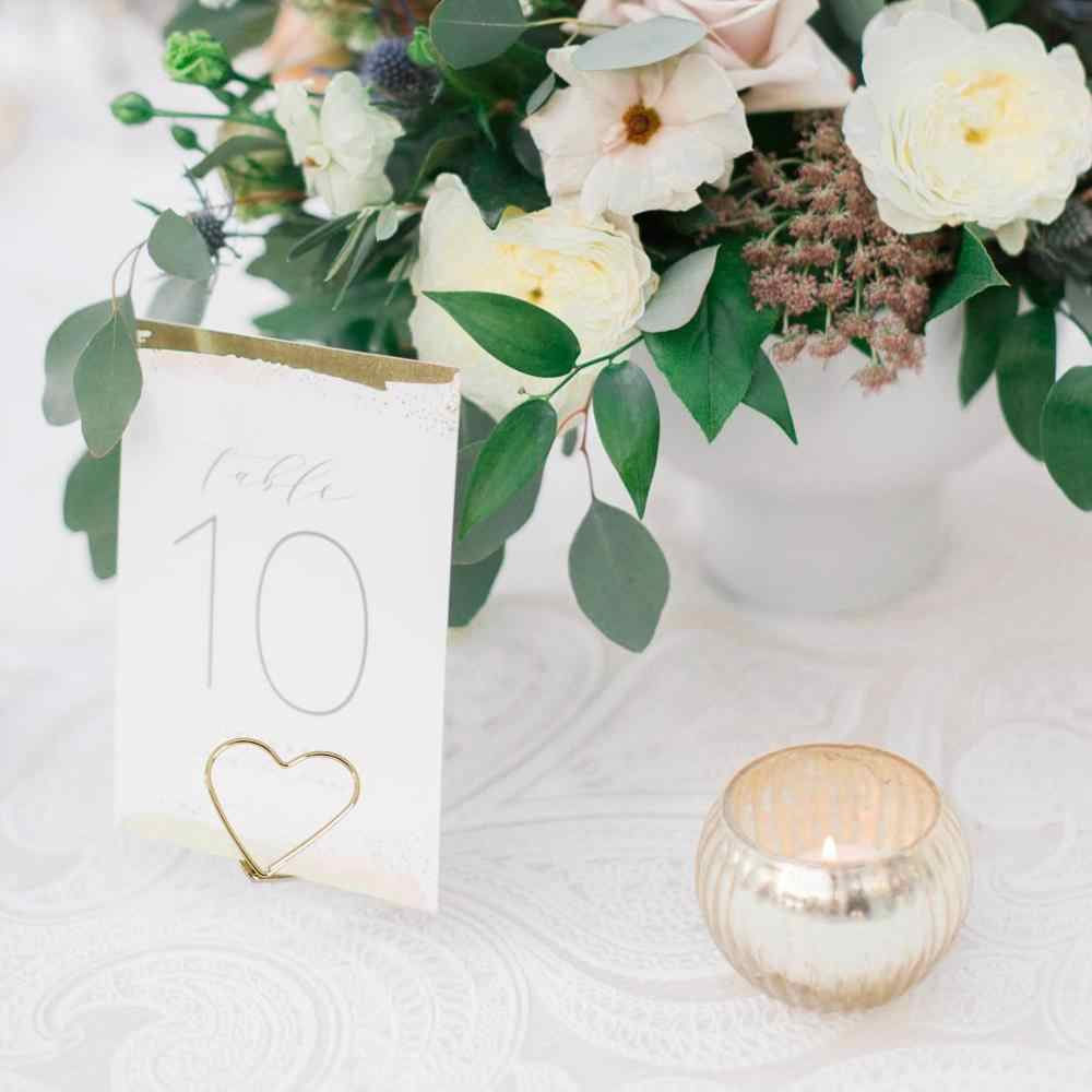 QIFU 10pcs Love Shape Metal Photo Clip Wedding Signs Wedding Table Numbers Place Cards Holder Wedding Table Decor Party Supplies