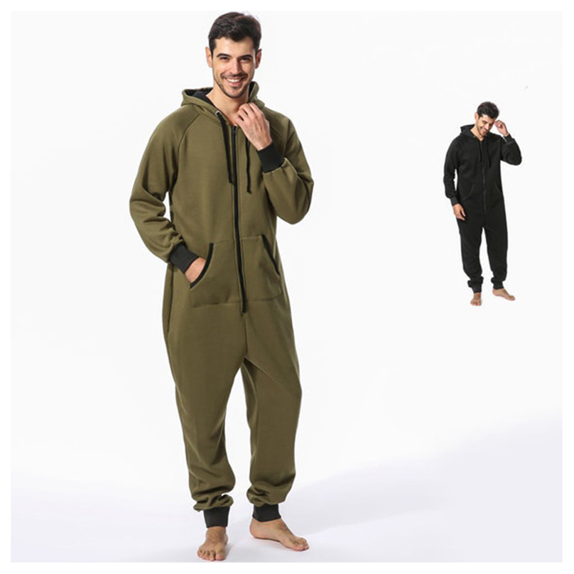 Tmall Quality Pijama Hombre Invierno Hooded Combinaison Pyjama Homme Hiver Pajama Onesie Onepiece For Adults Men Black Blue