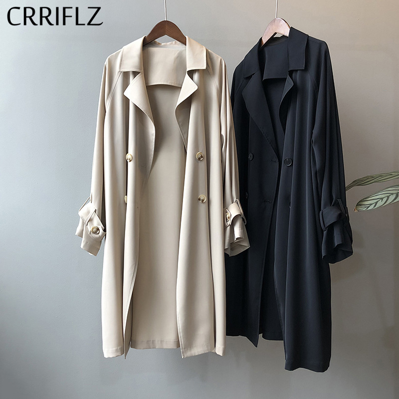 Spring Long Loose Trench Coat Women Casual Single Breasted Trench Outwear 2020 New CRRIFLZ