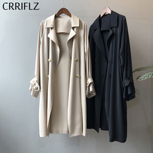 Spring Long Loose Trench Coat Women Casual Single Breasted