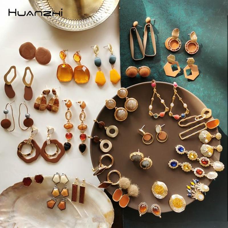 HUANZHI 2020 New Enamel Asymmetry Pearl Rhinestone Acrylic Geometric Transparent Long Drop Earrings For Women Girls Party