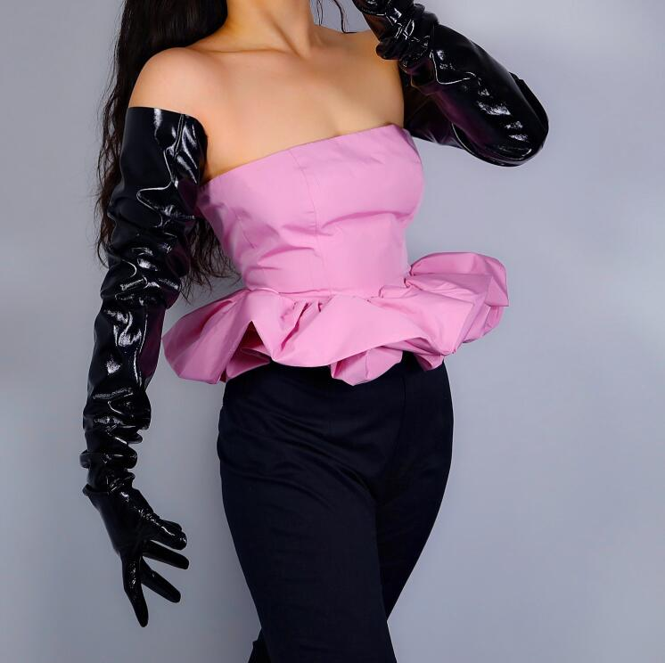 Women's Runway Fashion Sexy Patent Black Wide Sleeve Pu Leather Glove Lady's Club Performance Formal Party Long Glove 90cm R2695
