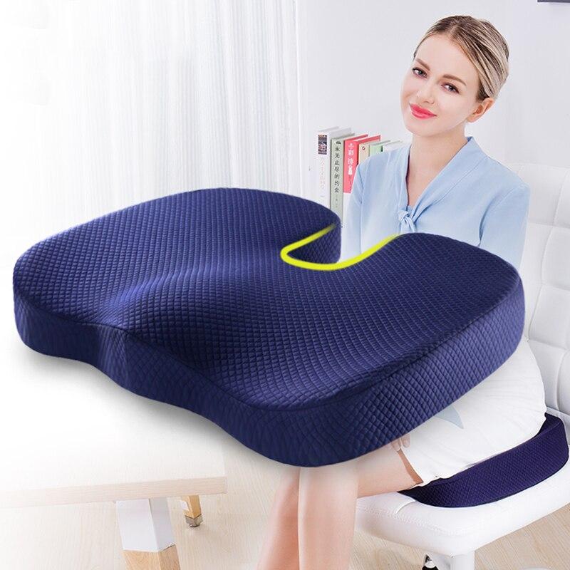 Coussin de siège en mousse à mémoire de soutien dorsal pour fauteuil de bureau sciatique Coccyx Coccyx soulagement de la douleur orthopédique antidérapant