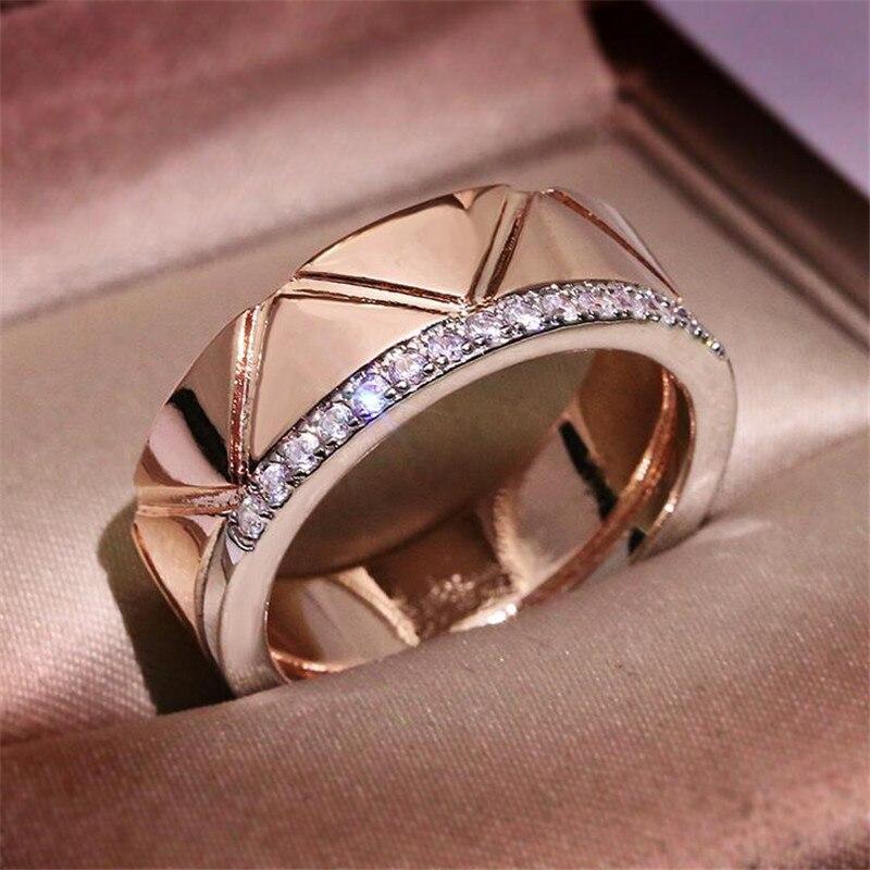 Offre spéciale bijoux de mode 925 en argent Sterling et or Rose remplir séparé or AAA cubique Zircon rayure femmes bague de mariage cadeau - 2