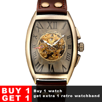 Shenhua 2019 Vintage Automatic Watch Men Mechanical Wrist Watches Mens Fashion Skeleton Retro Bronze Watch Clock montre homme