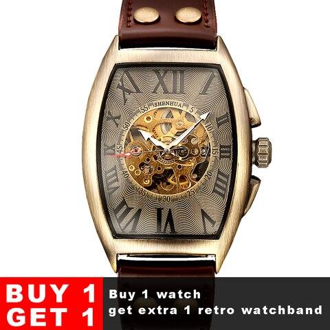 Relógios de Pulso Mecânico dos Homens Shenhua Vintage Relógio Automático Masculino Moda Esqueleto Retro Bronze Montre Homme 2020